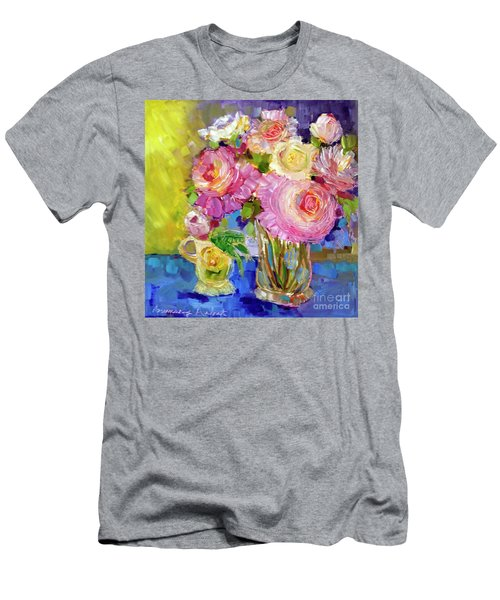 Men's T-Shirt (Slim Fit) featuring the painting Peony Love by Rosemary Aubut