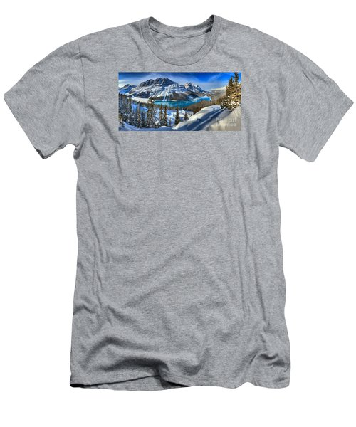 Peyto Lake Winter Panorama Men's T-Shirt (Slim Fit) by Adam Jewell