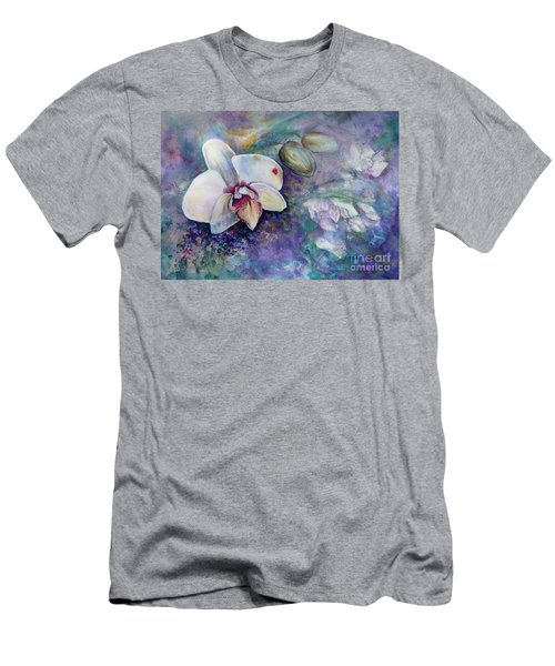 Men's T-Shirt (Athletic Fit) featuring the painting Phalaenopsis Orchid With Hyacinth Background by Ryn Shell