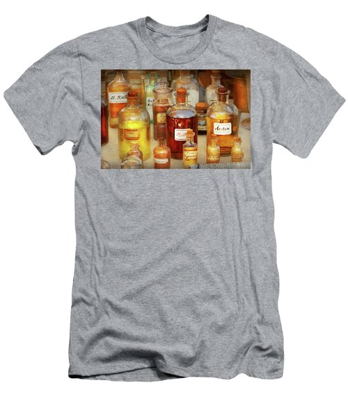 Men's T-Shirt (Slim Fit) featuring the photograph Pharmacy - Serums And Elixirs by Mike Savad