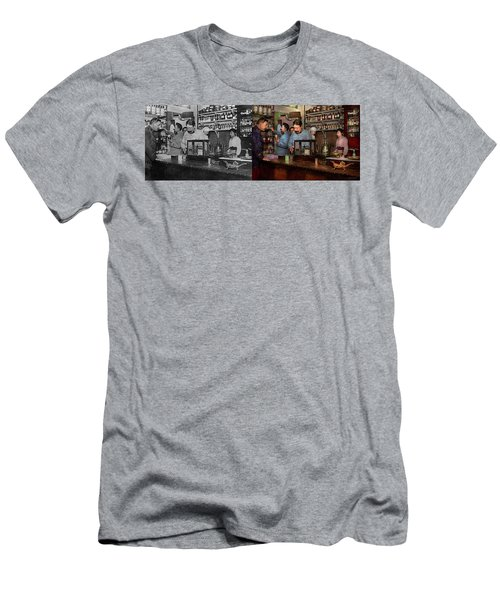 Men's T-Shirt (Athletic Fit) featuring the photograph Pharmacy - The Dispensing Chemist 1918 - Side By Side by Mike Savad