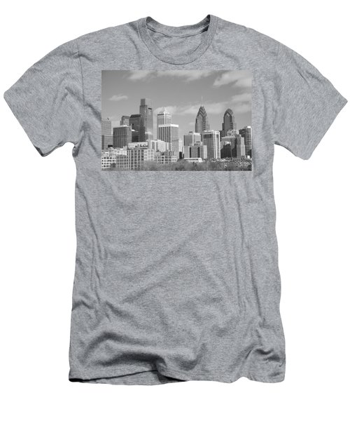 Philly Skyscrapers Black And White Men's T-Shirt (Athletic Fit)