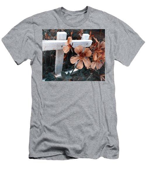 Picket Fence Blooms Men's T-Shirt (Slim Fit)