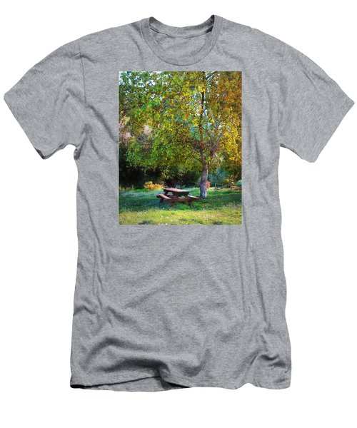 Picnic Table Men's T-Shirt (Slim Fit) by Timothy Bulone