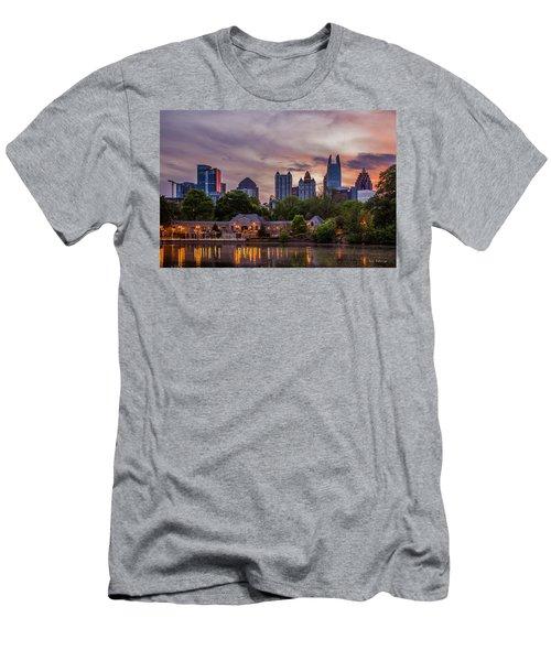 Men's T-Shirt (Slim Fit) featuring the photograph Piedmont Park Midtown Atlanta Sunset Art by Reid Callaway
