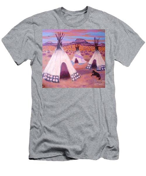 Piegan Indian Tipis Men's T-Shirt (Slim Fit) by Suzanne McKay