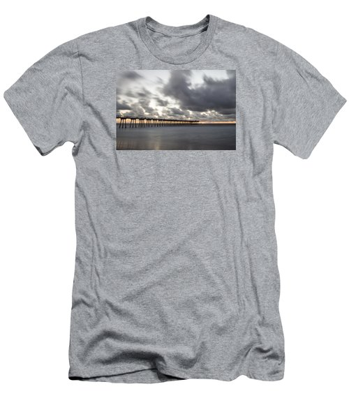 Pier In Misty Waters Men's T-Shirt (Slim Fit) by Ed Clark