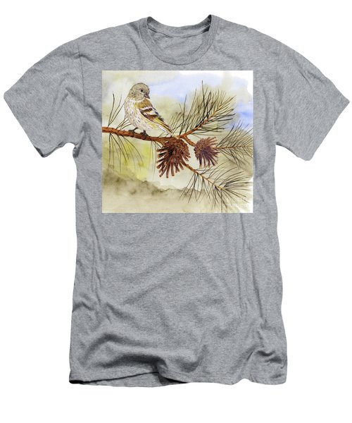Men's T-Shirt (Slim Fit) featuring the painting Pine Siskin Among The Pinecones by Thom Glace