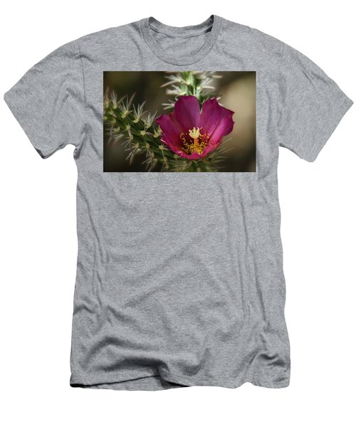 Men's T-Shirt (Athletic Fit) featuring the photograph Pink Cholla Flower  by Saija Lehtonen