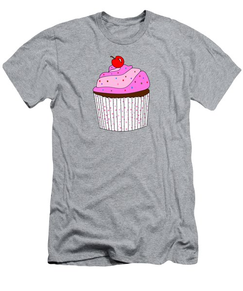 Pink Cupcake With Sprinkles - Food Illustration Men's T-Shirt (Athletic Fit)