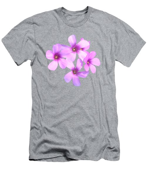 Men's T-Shirt (Slim Fit) featuring the photograph Pink Cutout Flowers by Linda Phelps