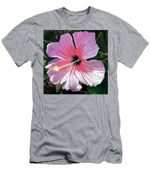 Pink Hibiscus With Raindrops Men's T-Shirt (Slim Fit) by Marionette Taboniar
