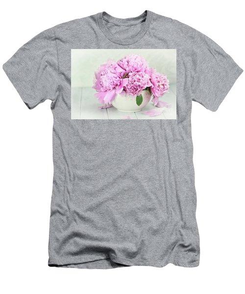 Pink Peonies Men's T-Shirt (Slim Fit) by Stephanie Frey