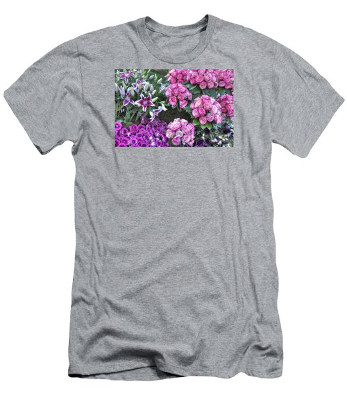 Pink, Purple And Lillies Men's T-Shirt (Athletic Fit)
