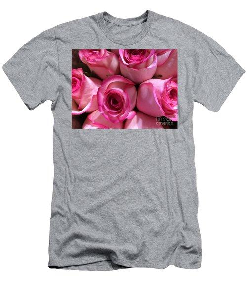 Pink Rose Bouquet Men's T-Shirt (Athletic Fit)