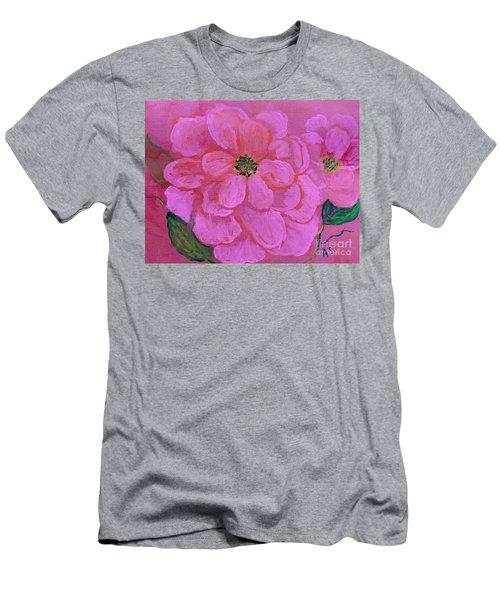 Pink Rose Flowers Men's T-Shirt (Athletic Fit)
