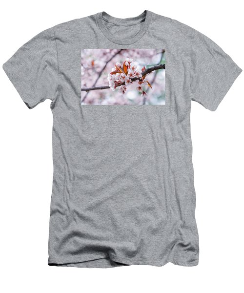 Men's T-Shirt (Slim Fit) featuring the photograph Pink Sakura Cherry Blossom by Alexander Senin