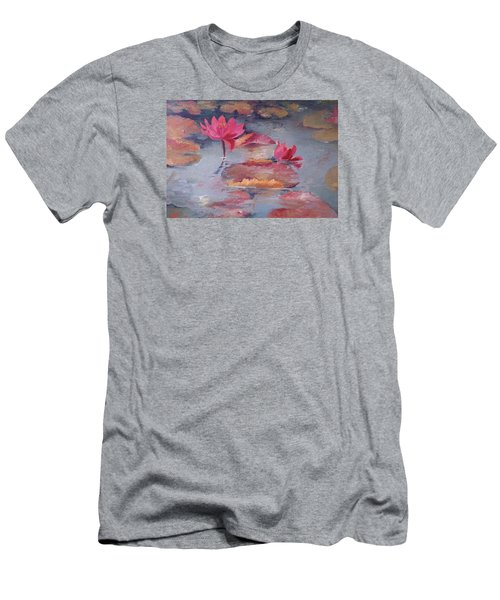 Pink Waterlilies Men's T-Shirt (Slim Fit) by Vali Irina Ciobanu