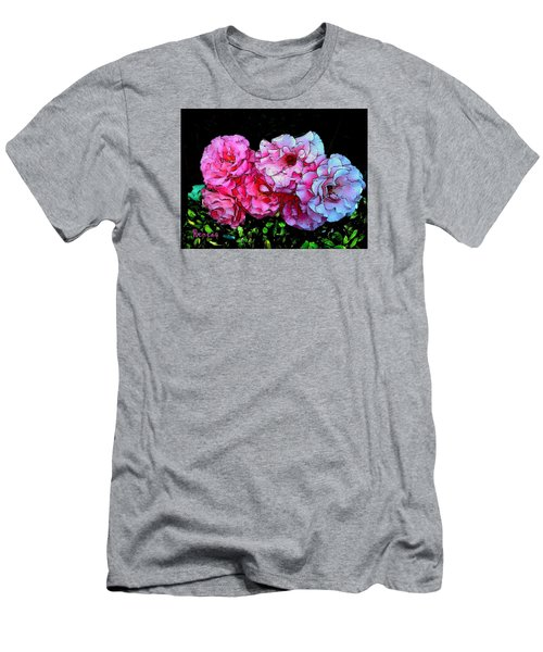 Men's T-Shirt (Slim Fit) featuring the photograph Pink - White Roses  by Sadie Reneau