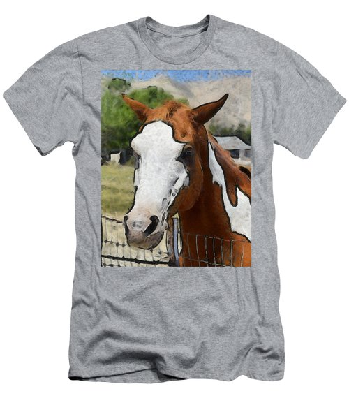 Men's T-Shirt (Slim Fit) featuring the photograph Pinto In The Pasture Portrait  by Barbara Snyder