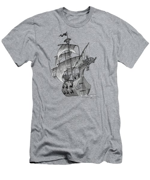 Pirate Ship Men's T-Shirt (Slim Fit) by Andy Catling