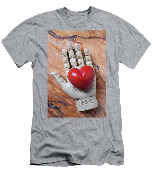 Plam Reader Hand Holding Red Stone Heart Men's T-Shirt (Athletic Fit)