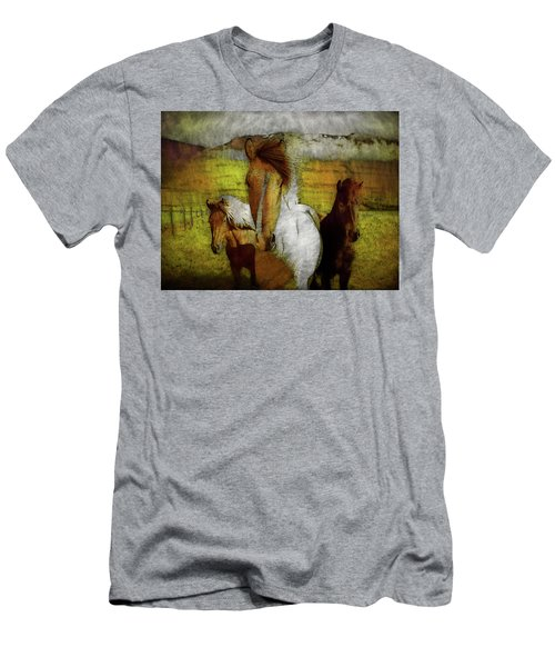Men's T-Shirt (Athletic Fit) featuring the photograph Plateau Ponies by Bellesouth Studio