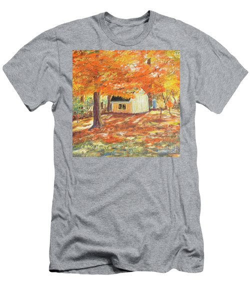 Men's T-Shirt (Slim Fit) featuring the painting Playhouse In Autumn by Carol L Miller