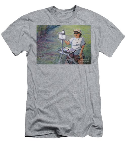 Men's T-Shirt (Slim Fit) featuring the painting Plein-air Painter Bj by Gretchen Allen