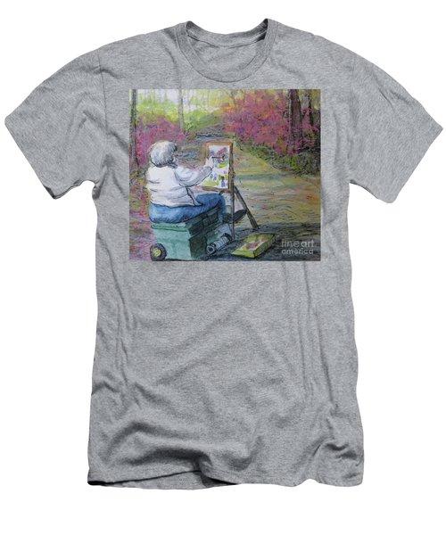 Men's T-Shirt (Slim Fit) featuring the painting Plein-air Painter Lady by Gretchen Allen