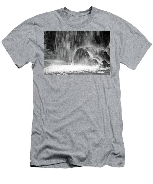 Plitvice Waterfall Black And White Closeup - Plitivice Lakes National Park, Croatia Men's T-Shirt (Athletic Fit)