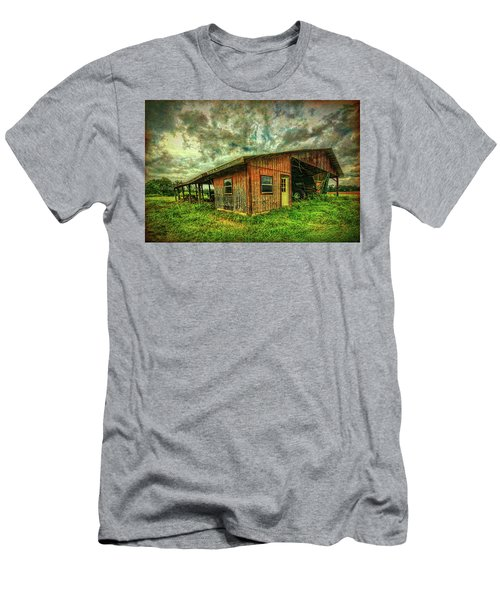 Men's T-Shirt (Athletic Fit) featuring the photograph Pole Barn by Lewis Mann