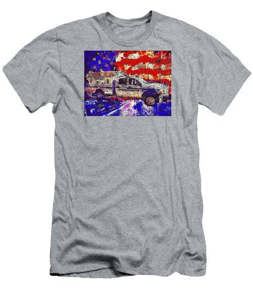 Men's T-Shirt (Athletic Fit) featuring the mixed media Police Truck by Al Matra