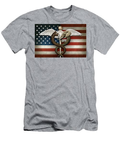 Political Medical Symbol And Flag Men's T-Shirt (Athletic Fit)
