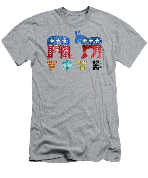 Political Party Election Vote Republican Vs Democrat Recycled Vintage Patriotic License Plate Art Men's T-Shirt (Athletic Fit)