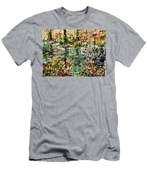 Men's T-Shirt (Slim Fit) featuring the painting Pond And Beyond by Alfred Motzer