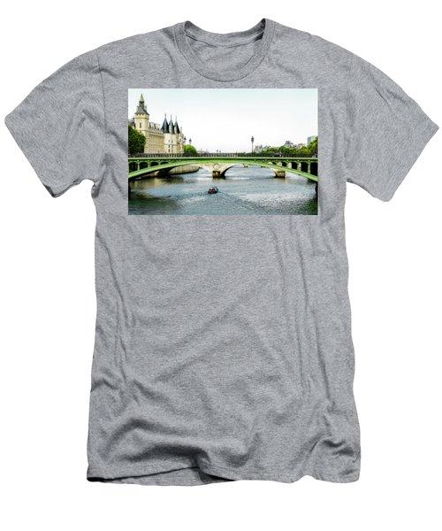 Pont Au Change Over The Seine River In Paris Men's T-Shirt (Athletic Fit)