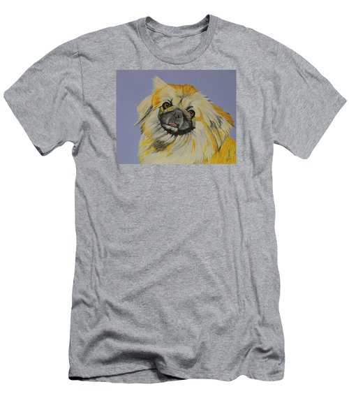Men's T-Shirt (Slim Fit) featuring the painting Poopan The Pekingese by Hilda and Jose Garrancho