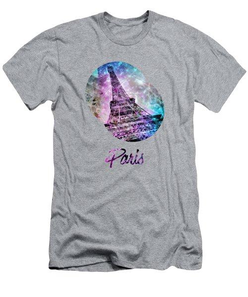 Pop Art Eiffel Tower Graphic Style Men's T-Shirt (Athletic Fit)