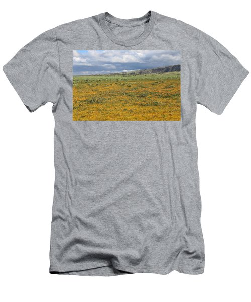 Men's T-Shirt (Slim Fit) featuring the photograph Poppies Field In Antelope Valley by Viktor Savchenko