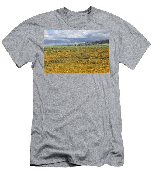 Poppies Field In Antelope Valley Men's T-Shirt (Slim Fit) by Viktor Savchenko