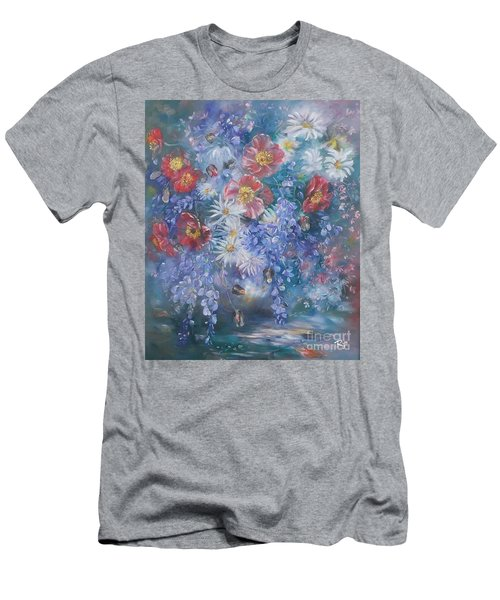 Men's T-Shirt (Athletic Fit) featuring the painting Poppies, Wisteria And Marguerites by Ryn Shell