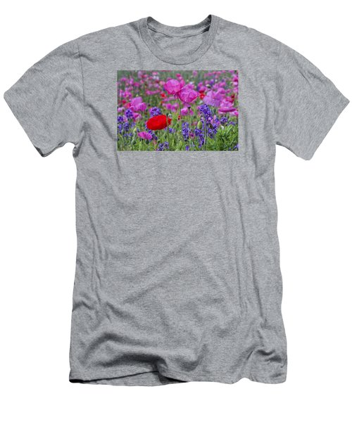 Men's T-Shirt (Athletic Fit) featuring the photograph Poppy Field by Ken Barrett