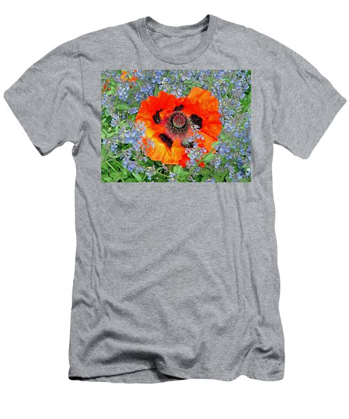 Poppy In Blue Men's T-Shirt (Athletic Fit)