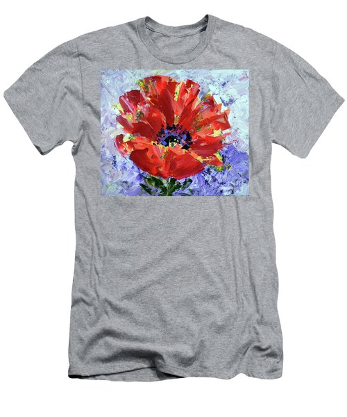 Poppy In Fields Of Lavender Men's T-Shirt (Athletic Fit)
