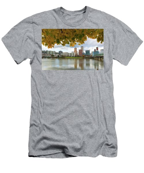 Portland City Skyline Under Fall Foliage Men's T-Shirt (Athletic Fit)