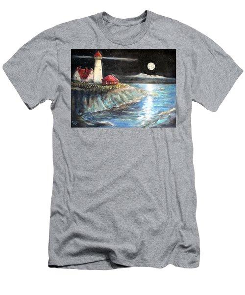 Portland Maine Twilight Men's T-Shirt (Slim Fit) by Bernadette Krupa