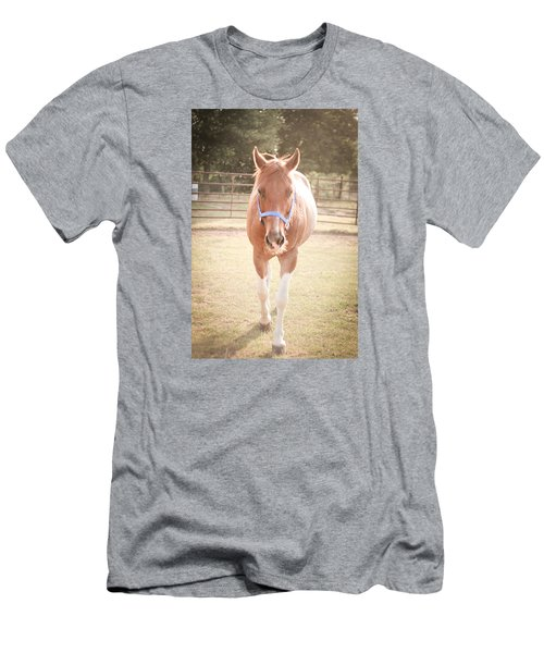 Men's T-Shirt (Slim Fit) featuring the photograph Portrait Of A Light Brown Horse In A Pasture by Kelly Hazel