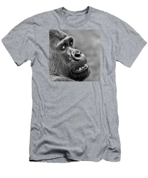 Portrait Of A Silverback Men's T-Shirt (Slim Fit) by Jim Fitzpatrick