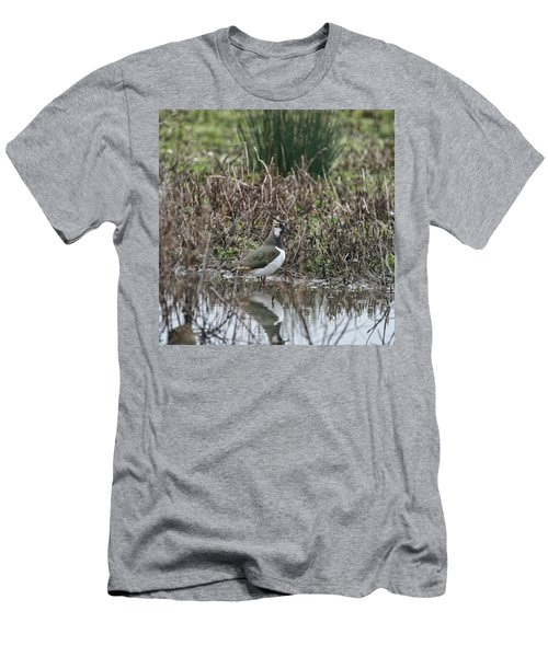 Portrait Of Beautiful Lapwing Bird Seen Through Reeds On Side Of Men's T-Shirt (Athletic Fit)